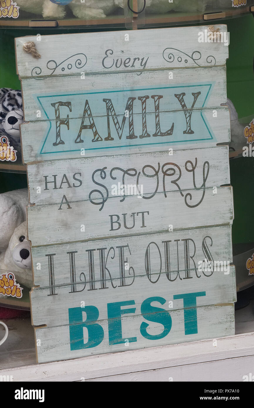 Chaque famille a une histoire sign Photo Stock