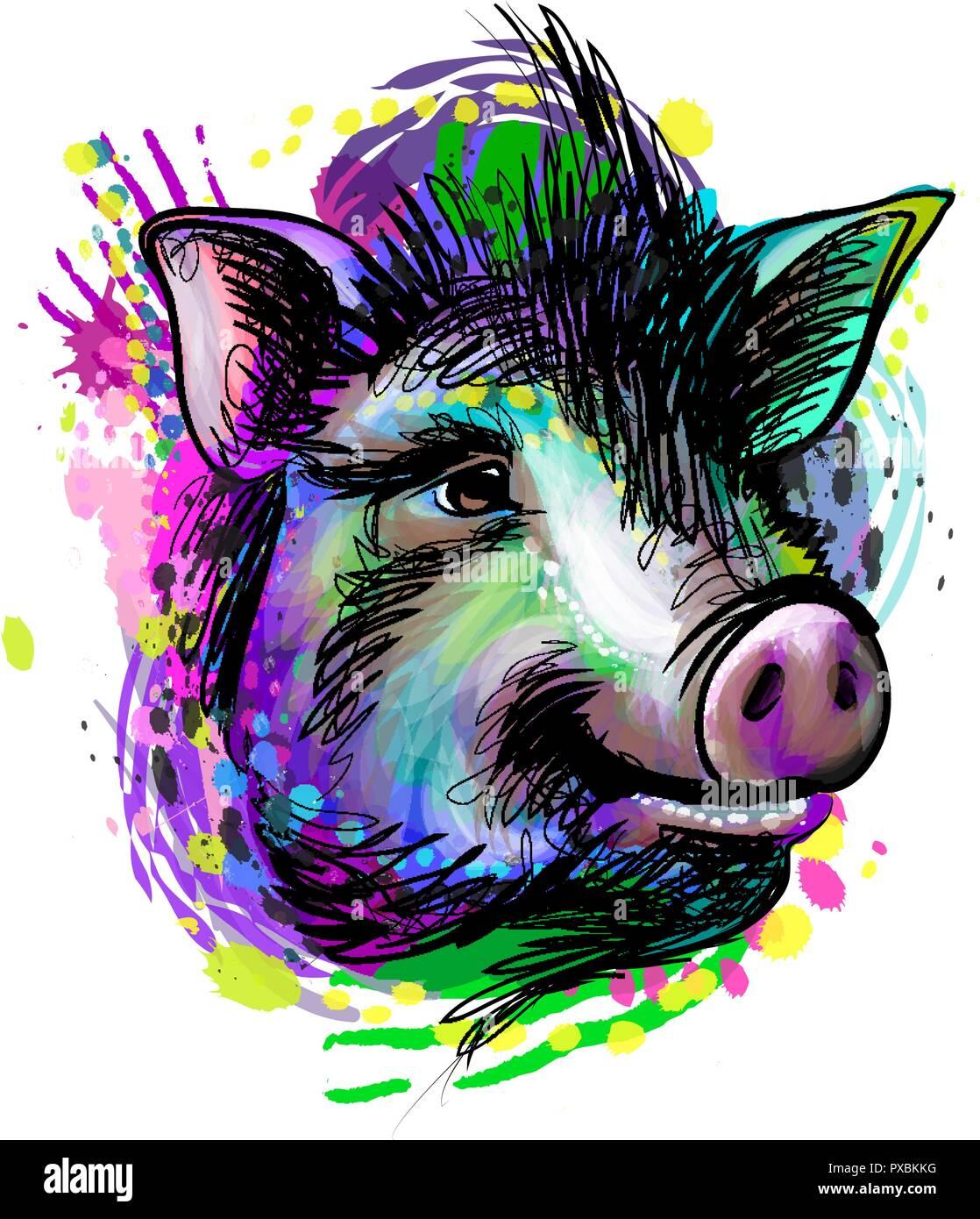 Portrait d 39 une t te de cochon signe du zodiaque chinois de l 39 ann e cochon vecteurs et - Tete de cochon a colorier ...