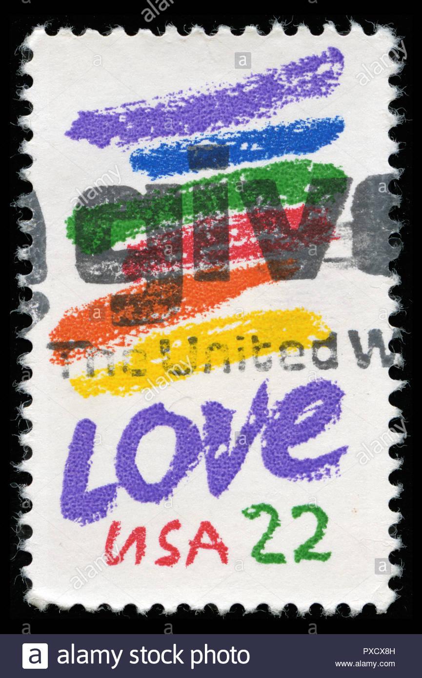 Timbre cachet de Etats-Unis d'Amérique (USA) dans l'amour Question série émise en 1985 Photo Stock