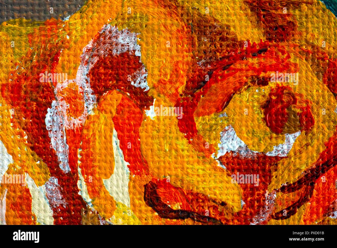 Close Up De Dessin A La Main Rose Peintures Acryliques Banque D