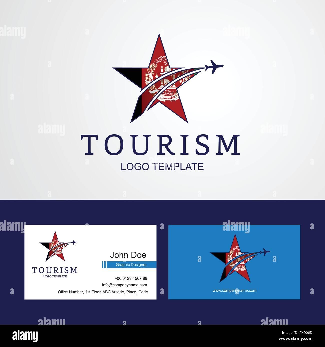 Drapeau Afghanistan Voyage Star Creative Design Logo Et Carte De Visite