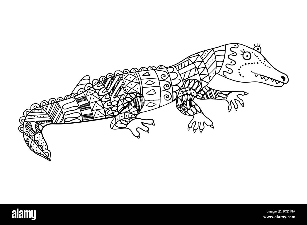 Crocodile Stylise Isole Sur Fond Blanc Croquis A Main Crocodile