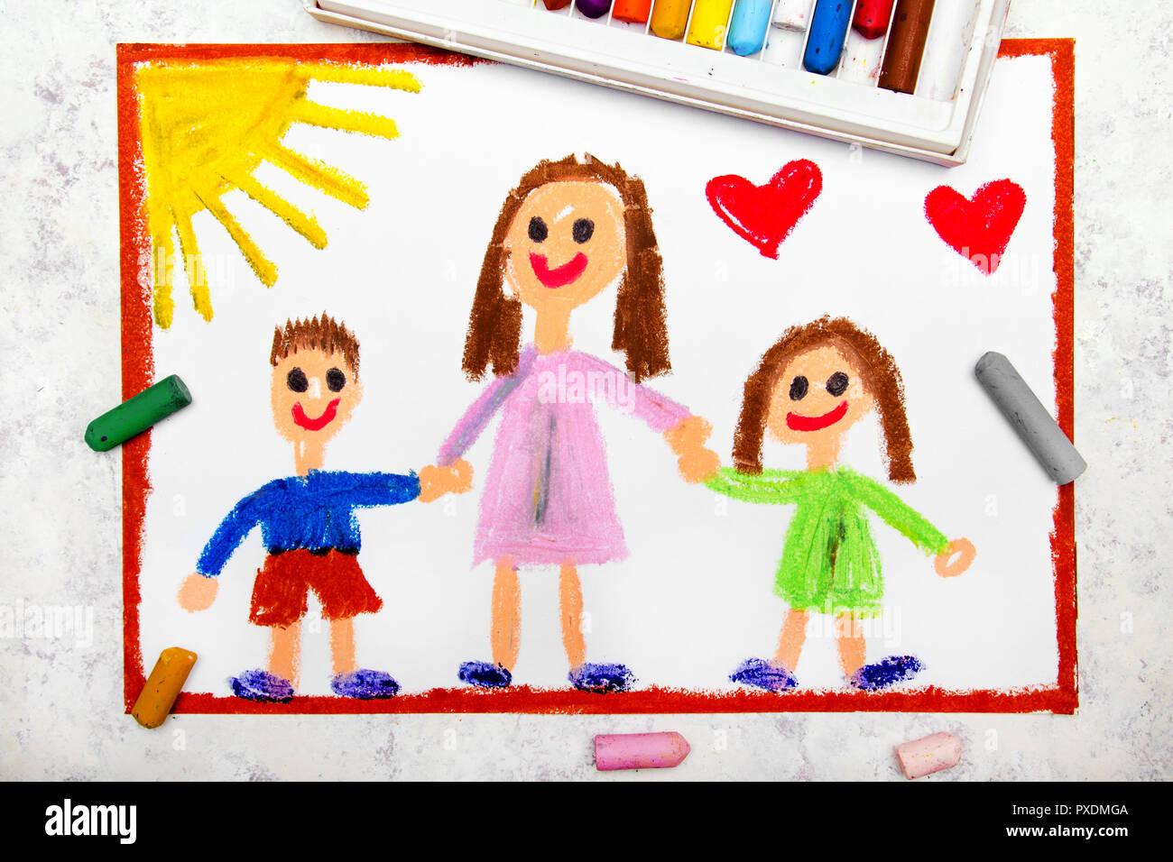 Dessin Coloré Single Parenting Smiling Family Avec La
