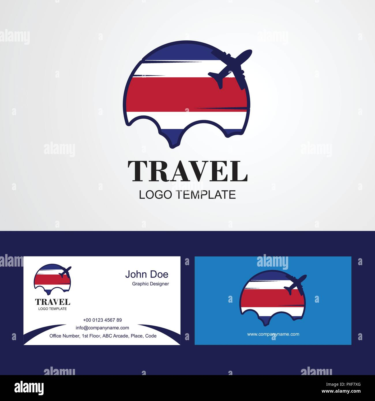 Costa Rica Voyage Logo Carte De Visite Du Pavillon Et Conception Photo Stock
