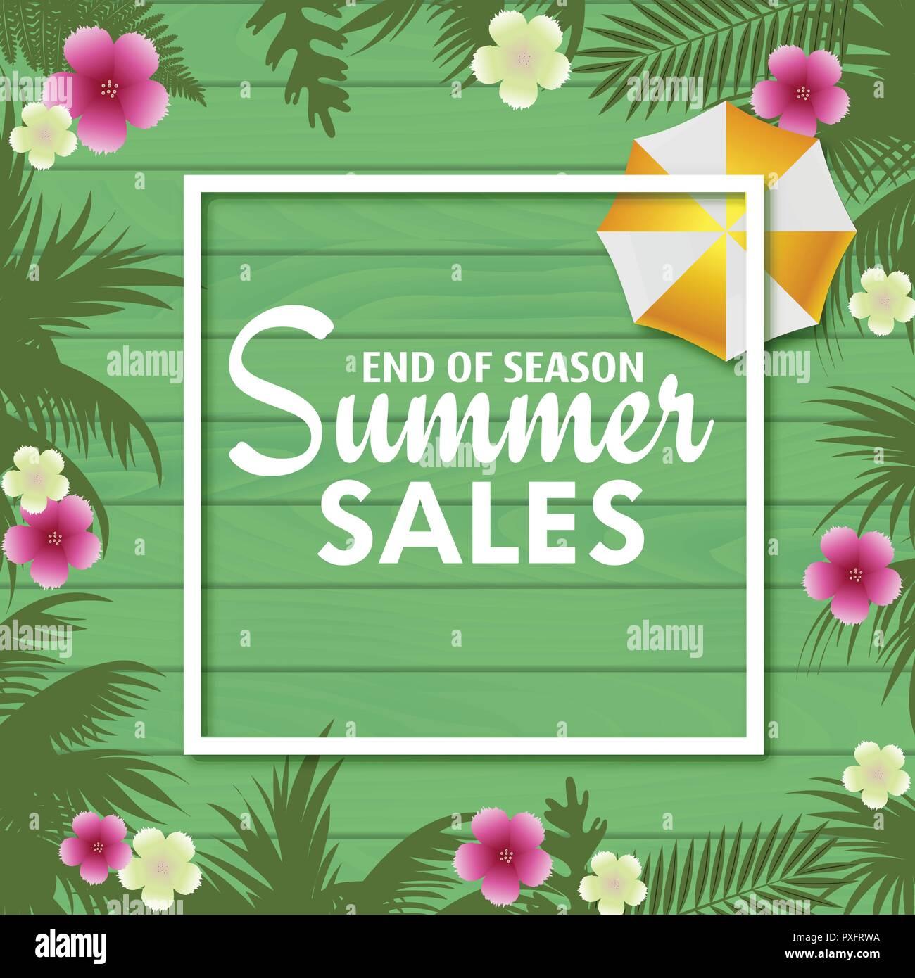 Les ventes d'été carte avec feuilles de palmier . Vecteur. Photo Stock