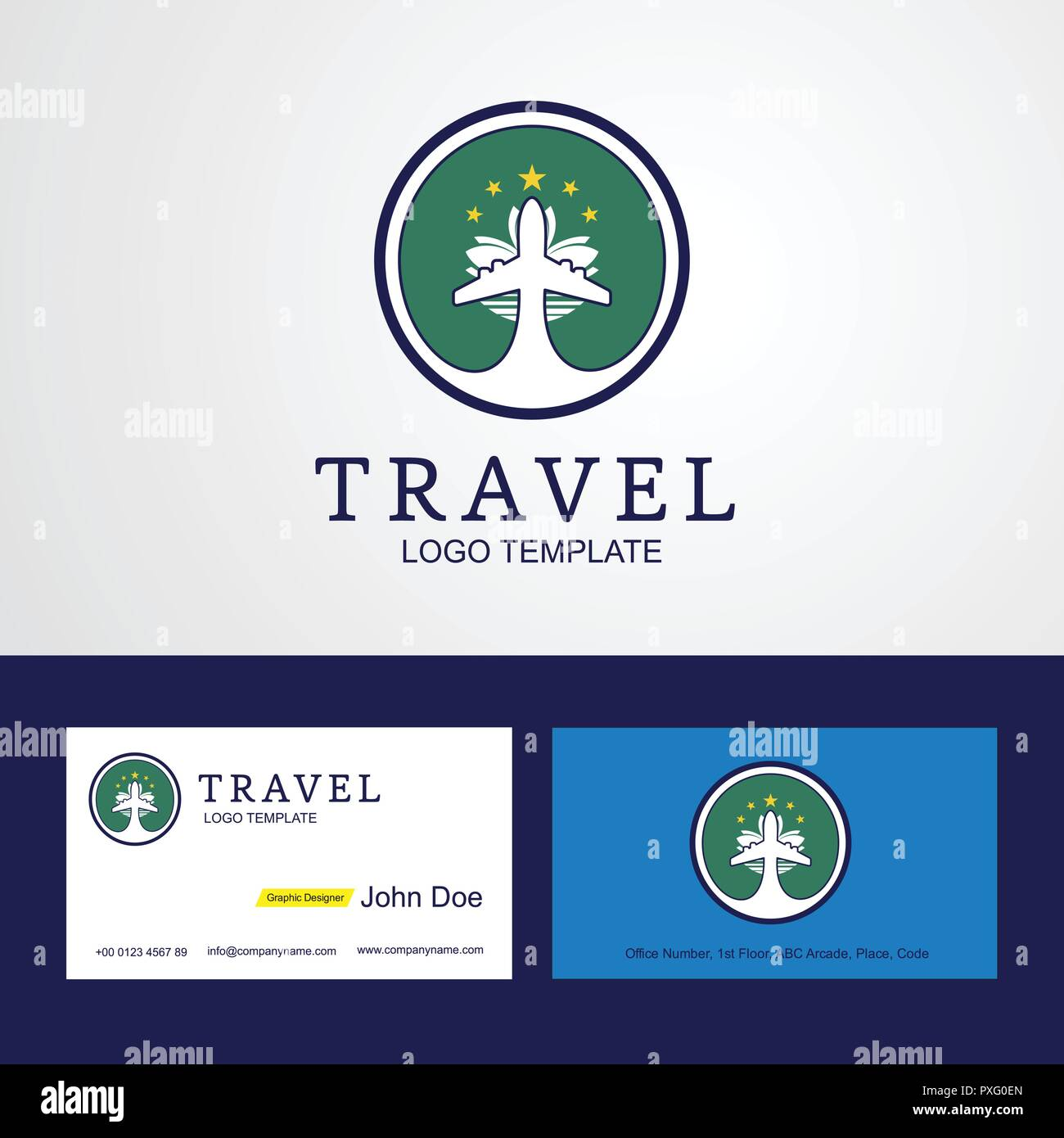 Macao Voyage Drapeau Creative Circle Design Logo Et Carte De Visite