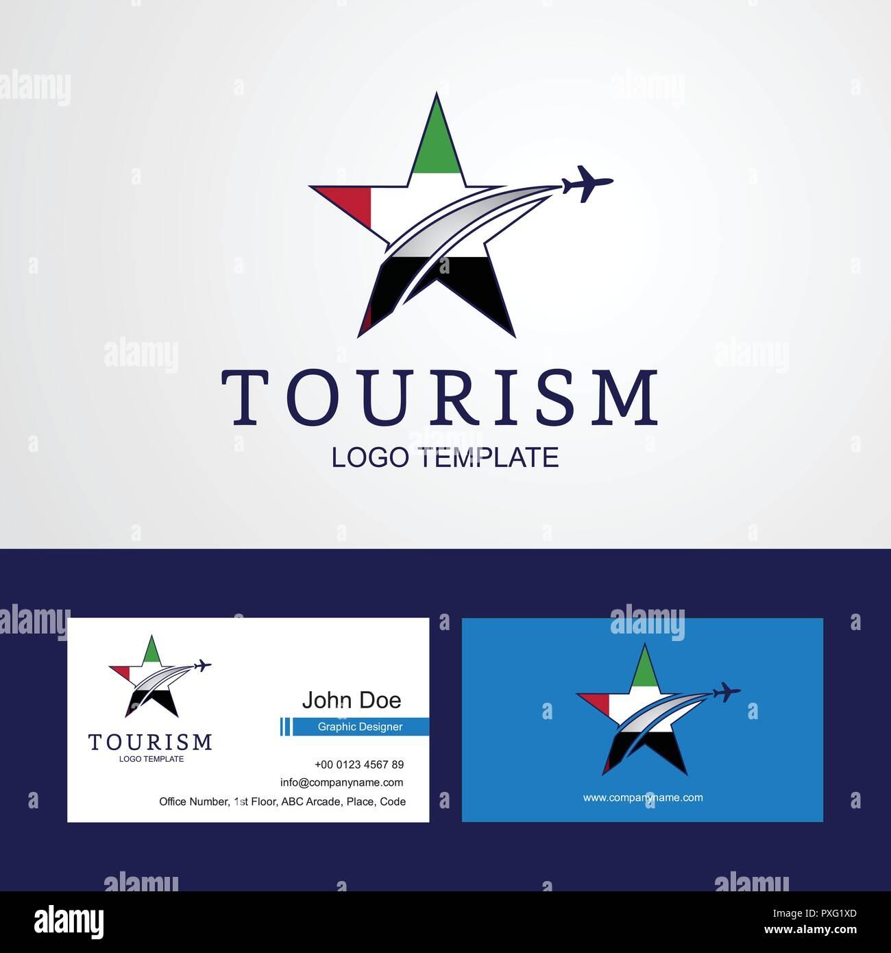 Drapeau EMIRATS ARABES UNIS Voyage Star Creative Design Logo Et Carte De Visite