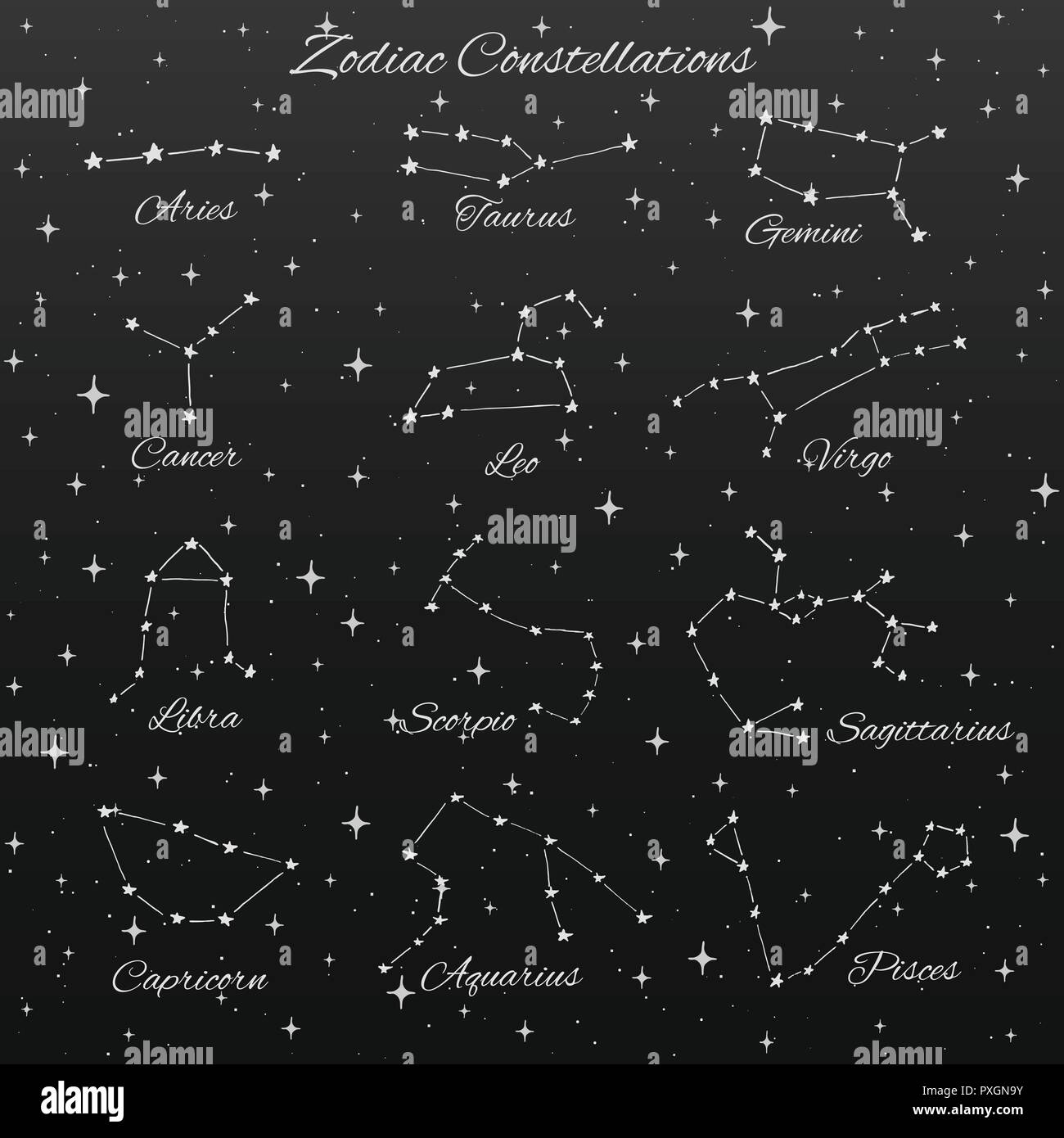Hand Drawn Vector Set De 12 Constellations Du Zodiaque Signe