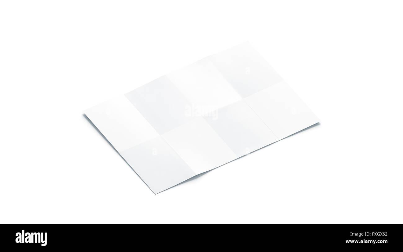 Tableau blanc vierge maquette livret, isolée, vue de côté, rendu 3d. Maquette brochure guide vide. Ouvert clair modèle de plan. Carte papier ou de schéma de la page. Photo Stock