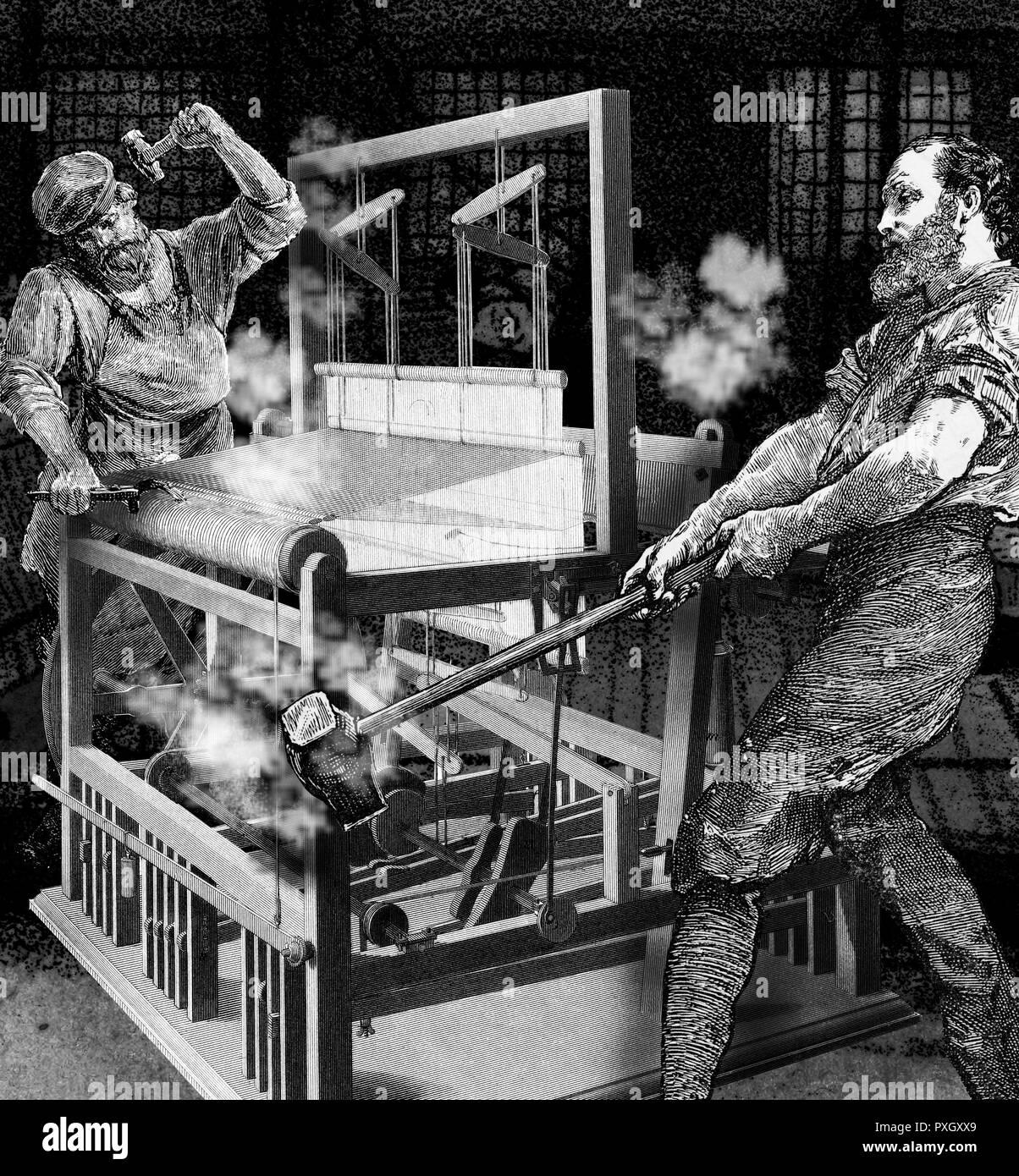 """Smash Luddites machines à tisser dans une usine textile de Nottingham. Les luddites étaient un mouvement de groupe radical de l'anglais les travailleurs du textile et des tisserands au début du 19ème siècle qui détruit machines à tisser comme forme de protestation. Le groupe protestait contre l'utilisation des machines dans un """"faux et trompeurs"""" façon de contourner les pratiques de travail standard. Le groupe redoute le temps consacré à l'apprentissage des compétences de leur métier serait gaspillé comme des machines à remplacer leur rôle dans l'industrie. Plus récemment, le terme a vu Neo-Luddism pour décrire l'opposition à de nombreuses formes de tec Photo Stock"""