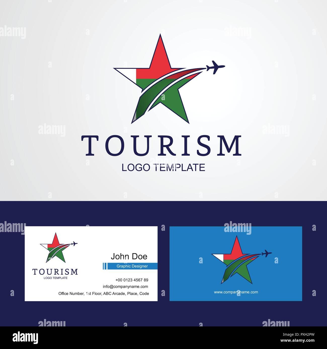 Drapeau Madagascar Voyage Star Creative Design Logo Et Carte De Visite
