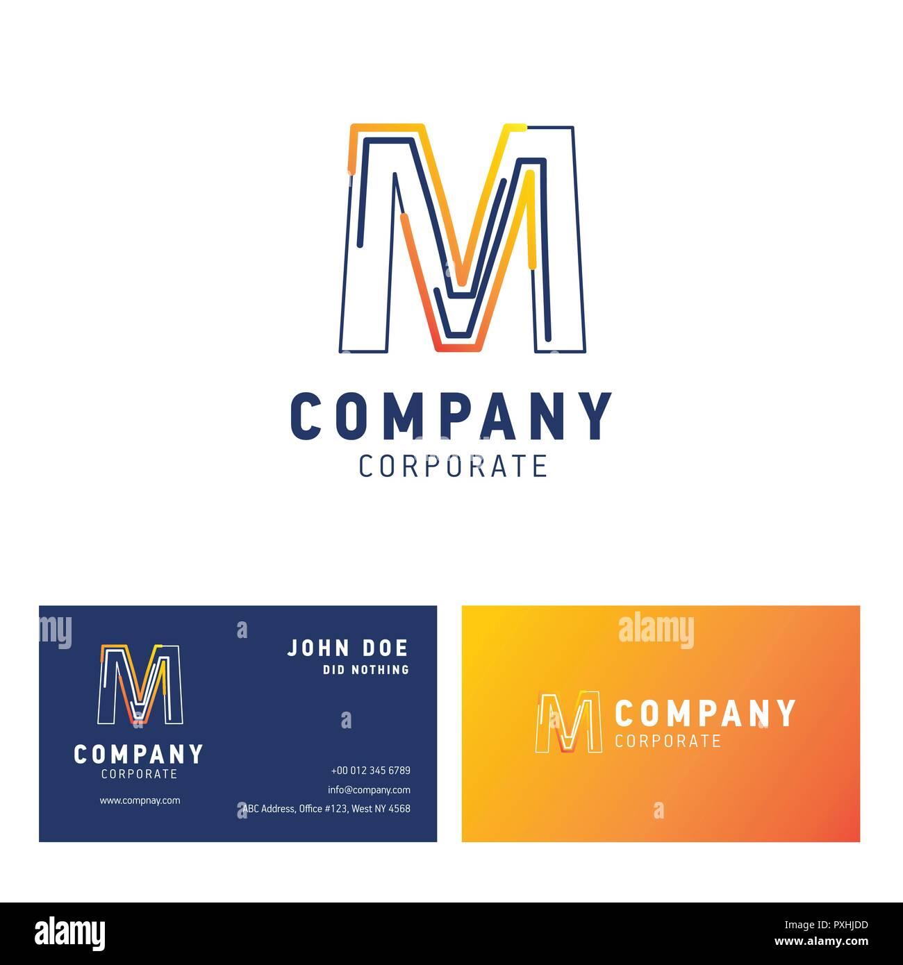 M Company Logo Design Carte De Visite Avec Vector