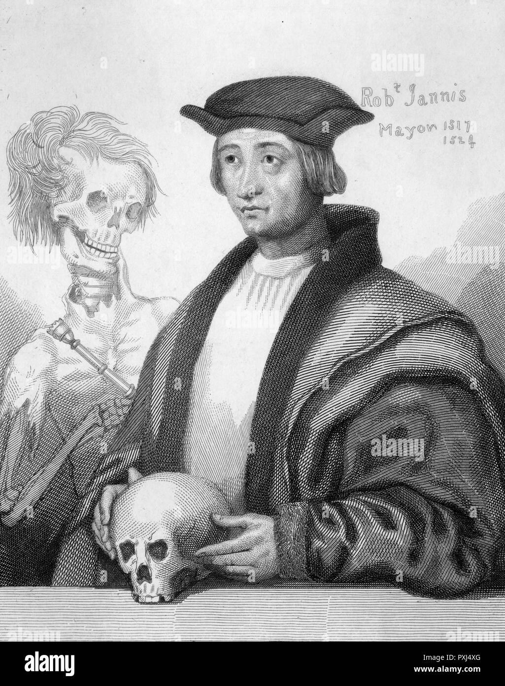 Robert Jannys, Maire de Norwich en 1517, semble beaucoup obsédé par la mort, tenant un crâne tandis qu'un squelette gibbers à ses côtés Date: 1517 Photo Stock
