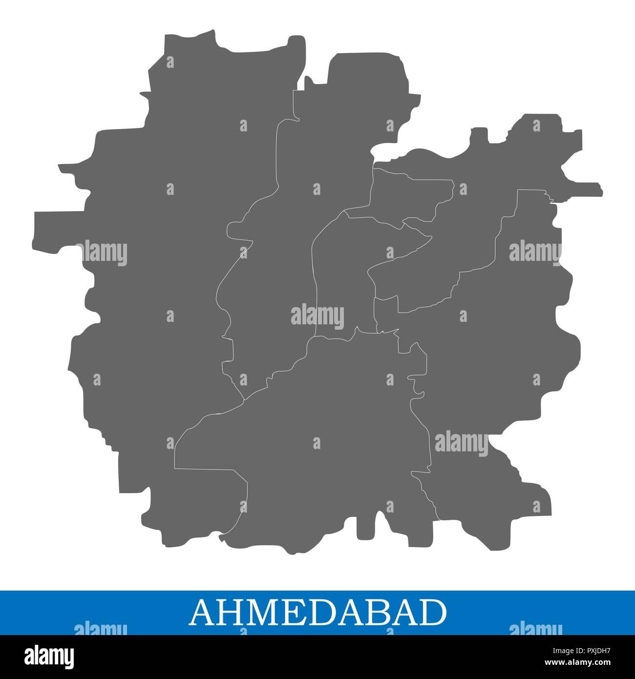 Carte Inde Ahmedabad.Carte De Haute Qualite D Ahmedabad Est Une Ville De L Inde
