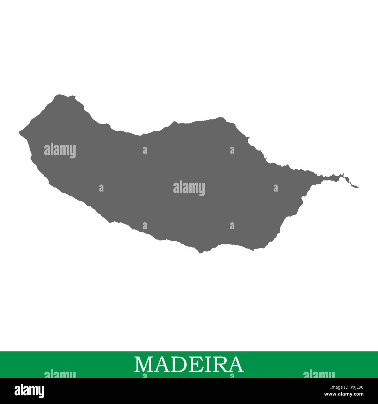 Carte de haute qualité de Madère est une île en Portugal Illustration de Vecteur