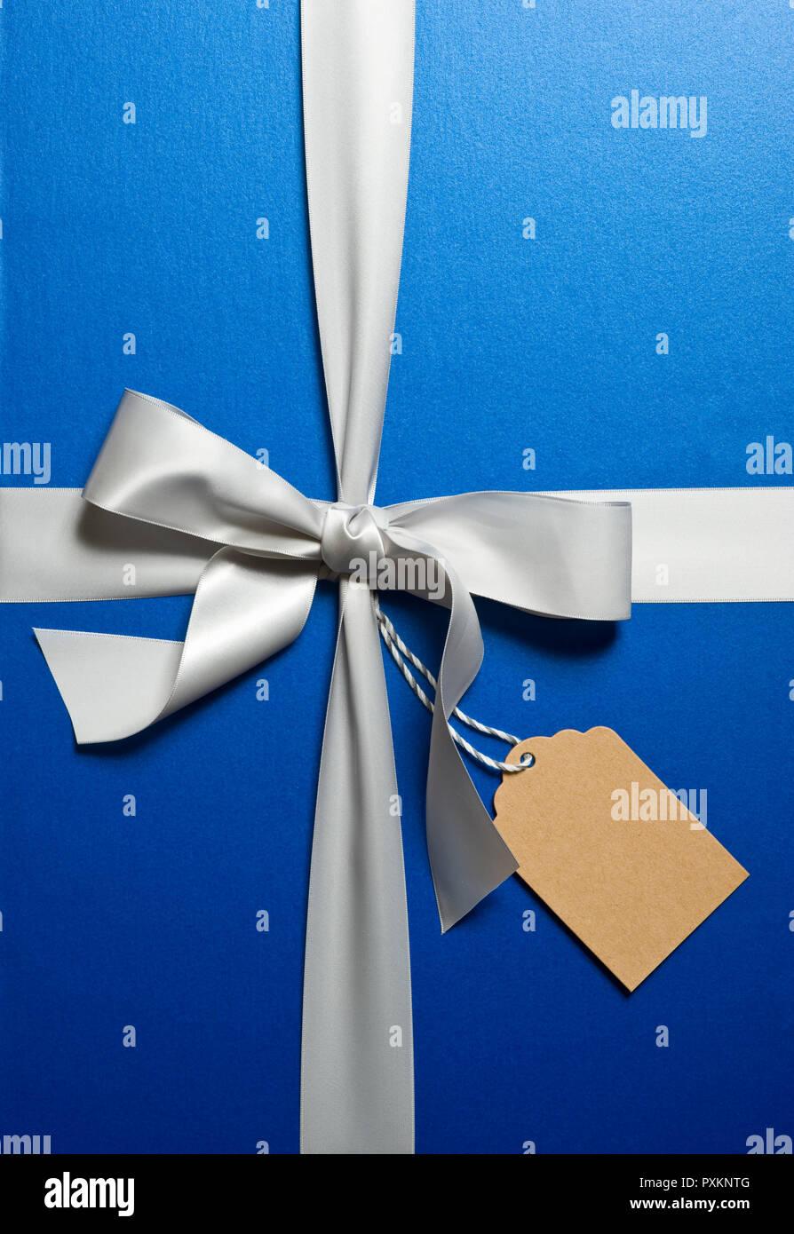Un cadeau emballé dans du papier bleu et du ruban argent avec étiquette cadeau Banque D'Images