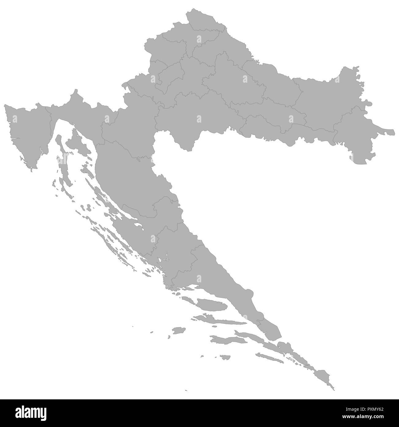 Carte Croatie Avec Regions.Carte De Croatie De Haute Qualite Avec Des Frontieres Des