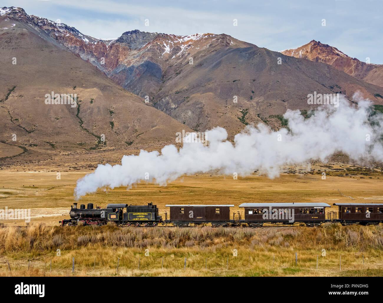 Vieille Patagonian Express La Trochita, train à vapeur, la Province de Chubut, en Patagonie, Argentine Banque D'Images