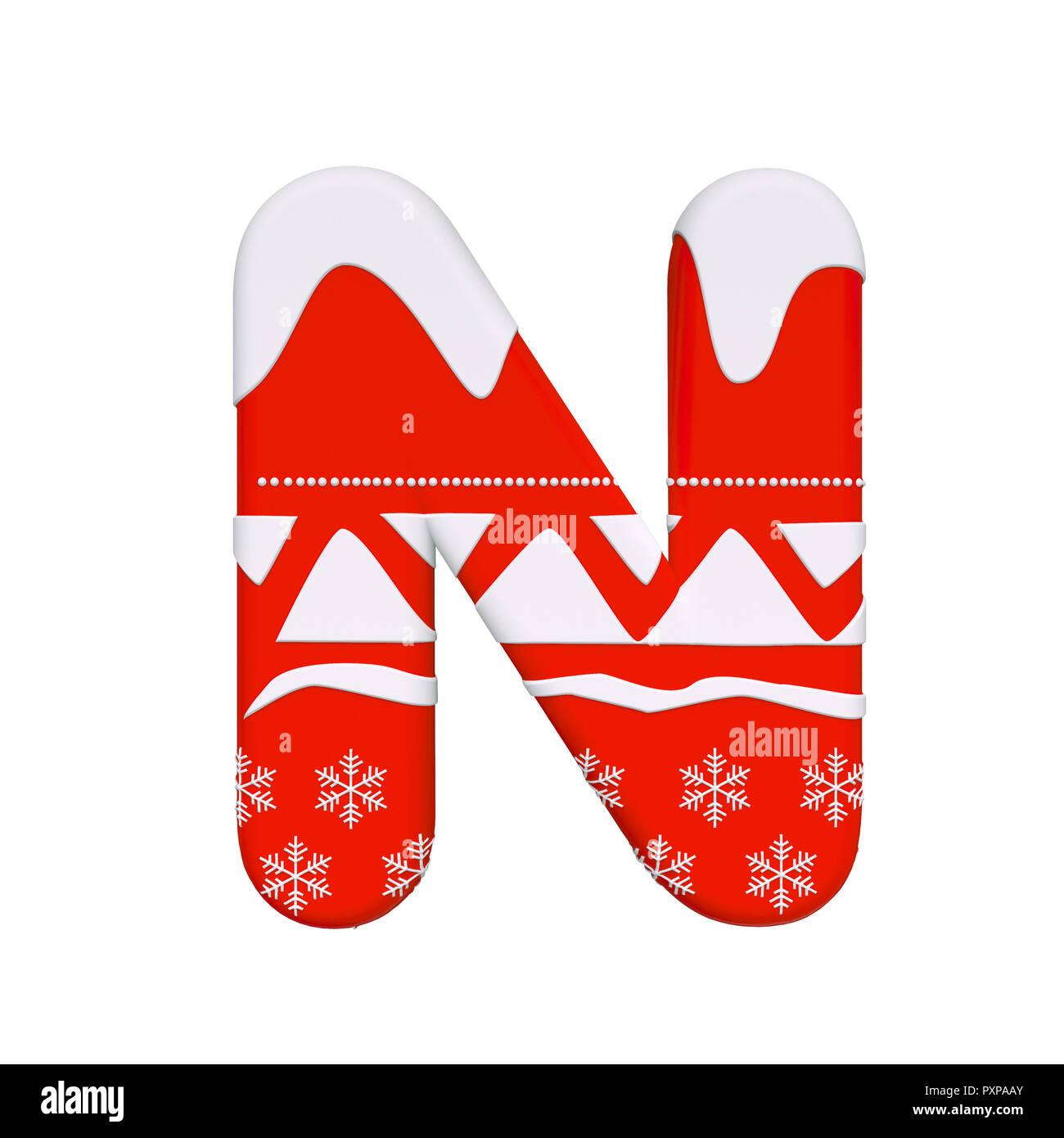 Image De Lettre De Noel.Lettre De Noel N Capital 3d Santa Noel Font Isole Sur Fond