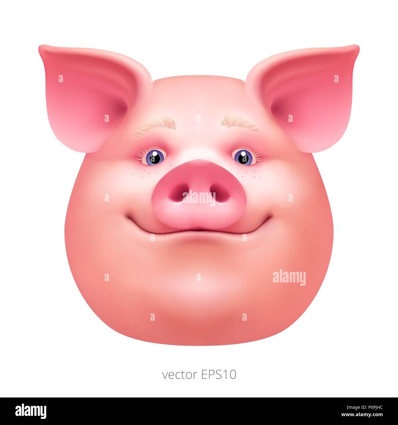 Chef D Un Vecteur Heureux Cochon Visage Surpris D Un Porc Gras Portrait D Un Porc Rose Masque De Cochon Pour Celebrer La Nouvelle Annee 2019 Clipart Realiste Image Vectorielle Stock Alamy