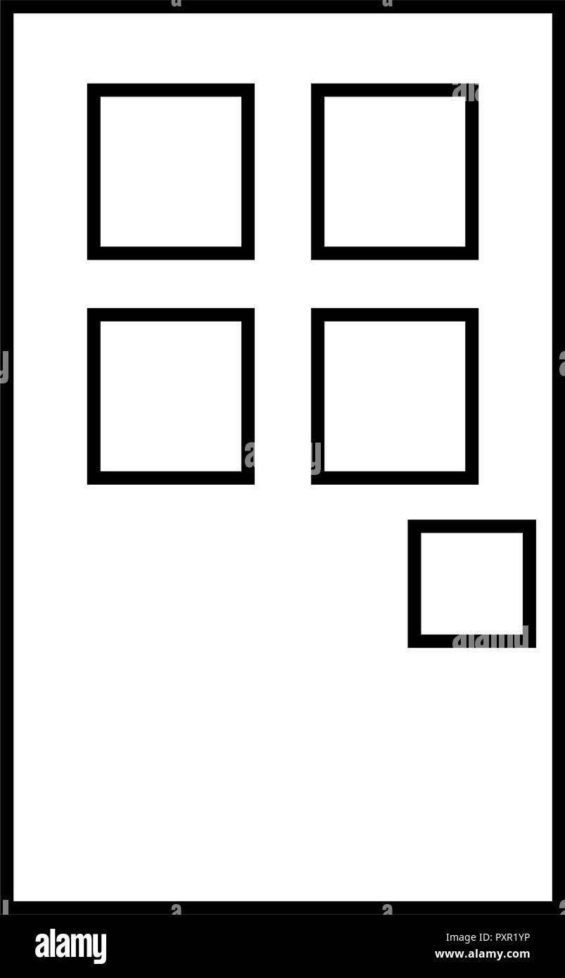 Décrit l'entrée porte sur fond blanc vector illustration Photo Stock