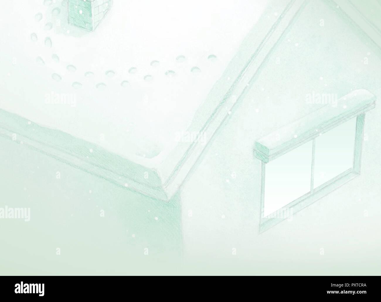 Le dessin de fond vert maison de conte de fées en hiver