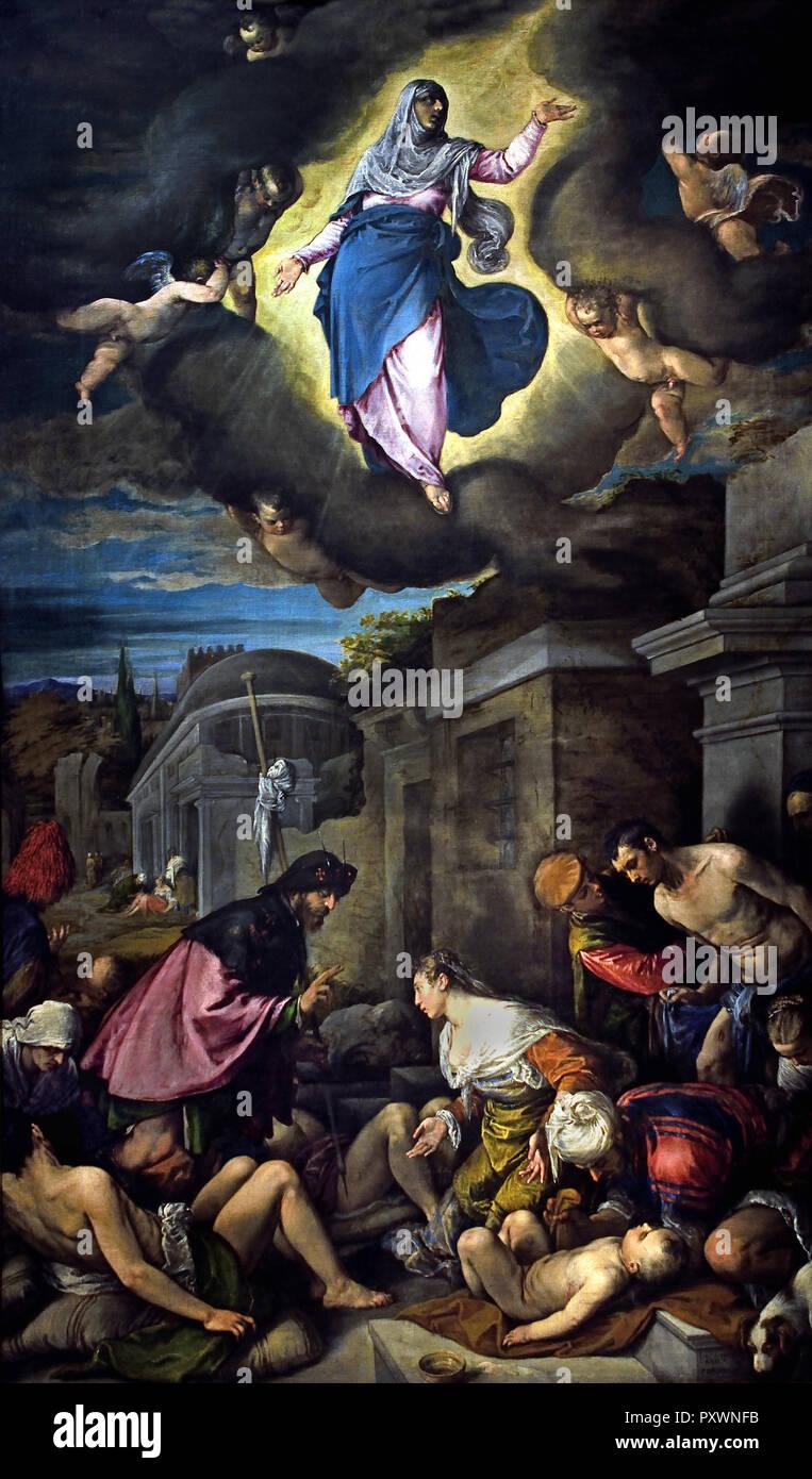 Saint Roch Visite le Plague-Stricken 1575 par Jacopo Bassano Jacopo Da Ponte (1510-1592) l'Italie, l'italien Photo Stock