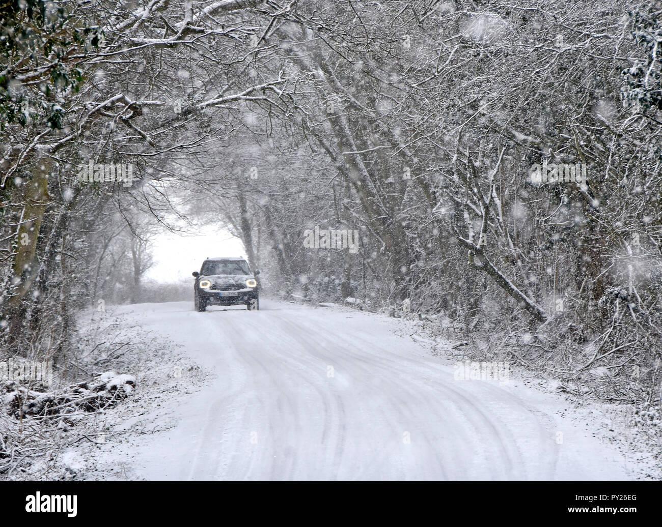 Les phares de voitures sur la conduite dans la neige qui tombe on country road tunnel arbre couvert de neige neige scène forestiers mauvais hiver météo Essex England UK Banque D'Images