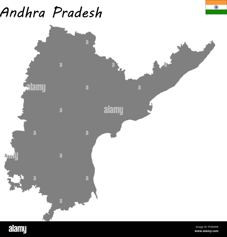 Carte de haute qualité de l'Andhra Pradesh est un état de l'Inde Photo Stock