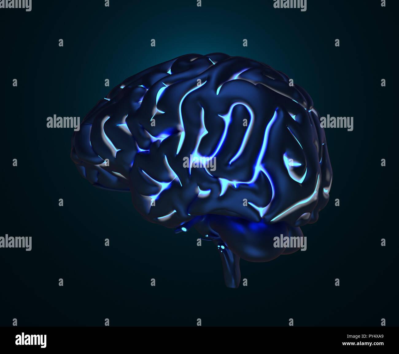 Le cerveau humain avec gyruses lumineux. 3D illustration Photo Stock