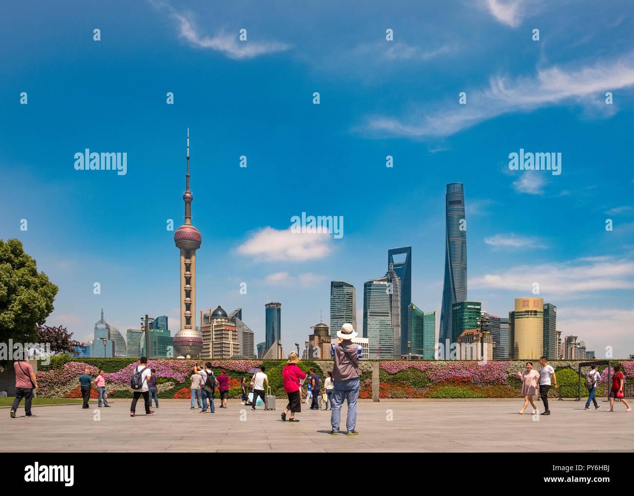 Les toits de Shanghai, Chine, Asie Photo Stock