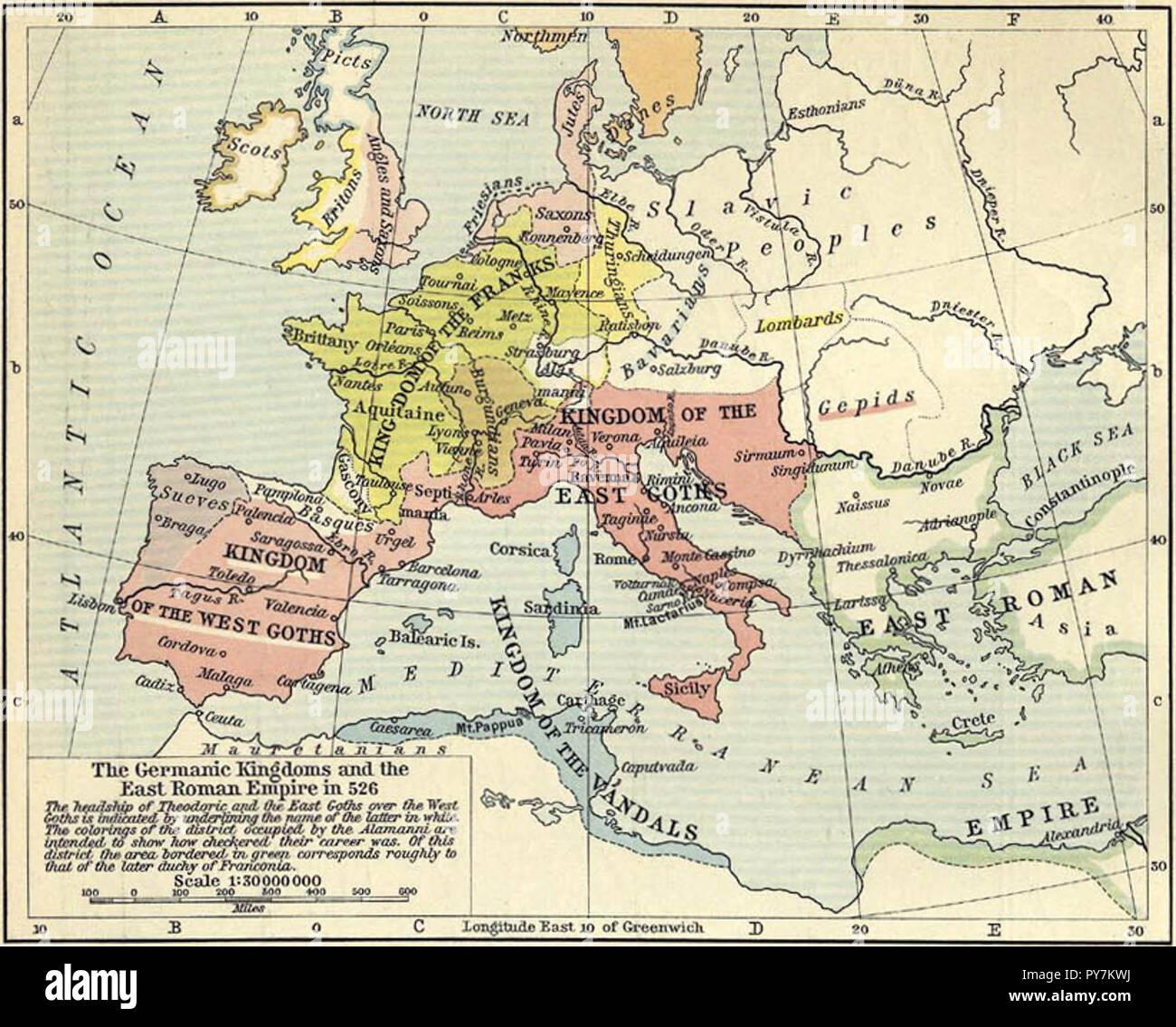 Carte illustrant les royaumes germaniques de l'Europe en 526 et l'Empire romain Photo Stock
