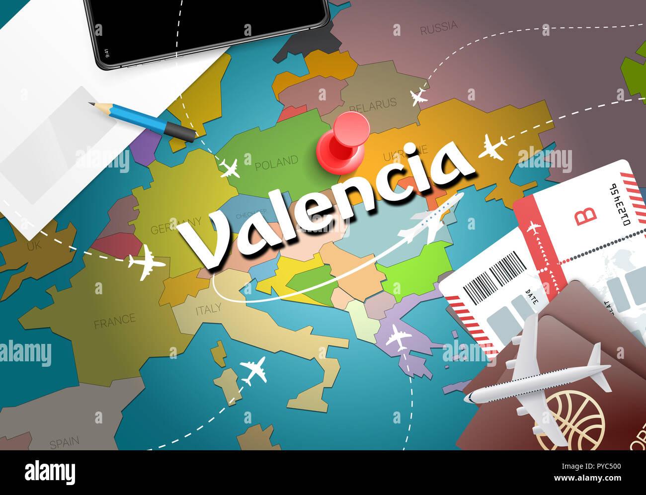 Valence Travel Concept Map Background Avec Des Avions Billets Visiter Voyages Et