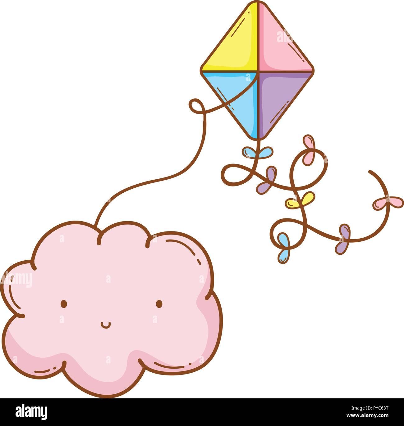 Cloud smiling with kite Illustration de Vecteur