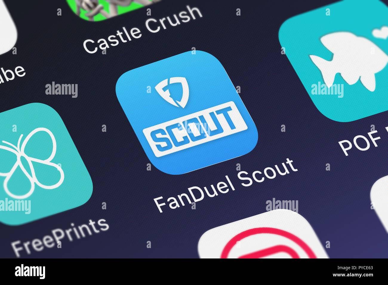 Londres, Royaume-Uni - Octobre 26, 2018: Le FanDuel FanDuel à partir de l'application mobile de Scout, Inc. sur un écran d'iPhone. Banque D'Images