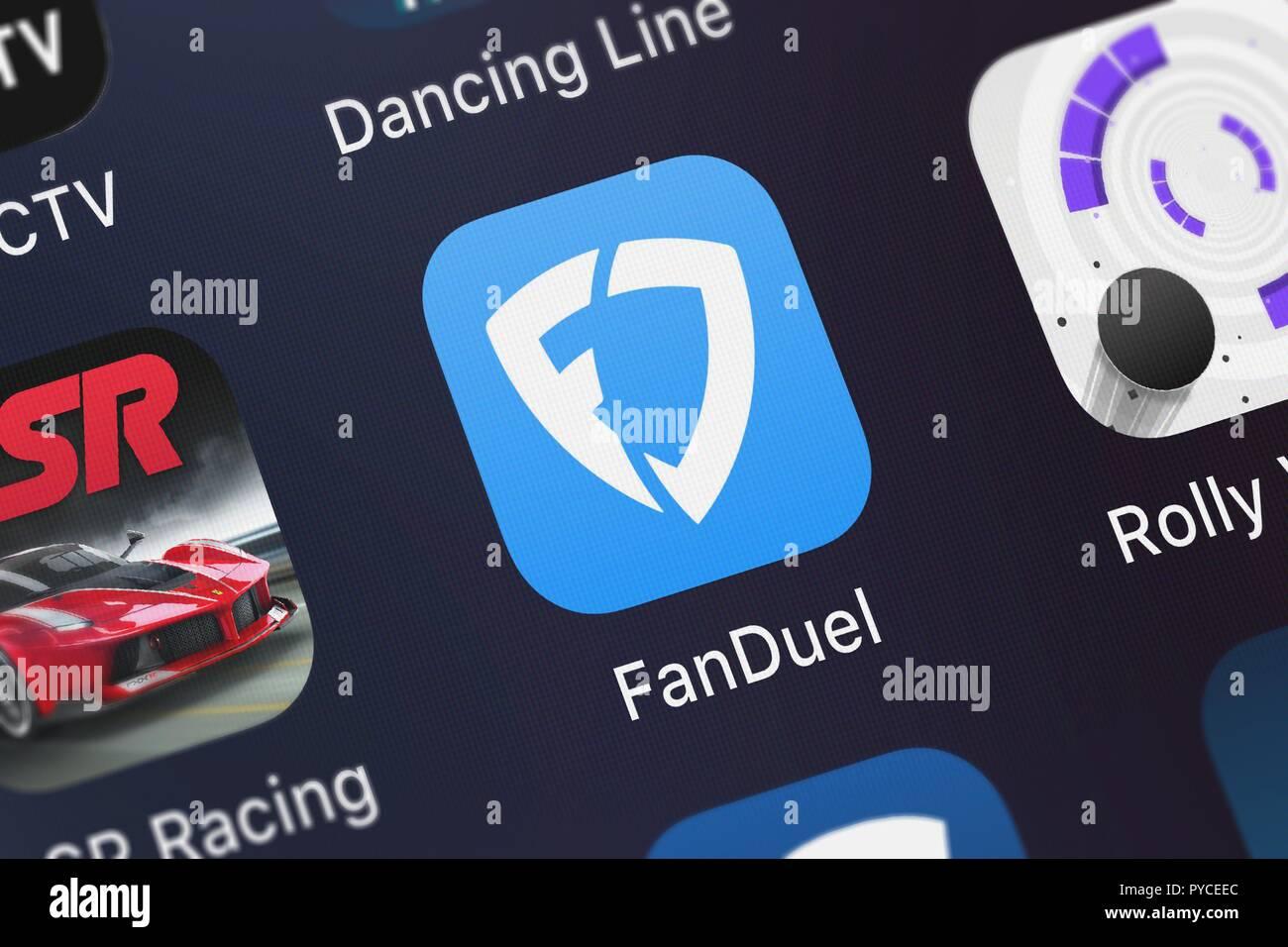 Londres, Royaume-Uni - 26 octobre 2018: Capture d'écran de l'application mobile - FanDuel FanDuel de Fantasy Football, Inc.. Banque D'Images