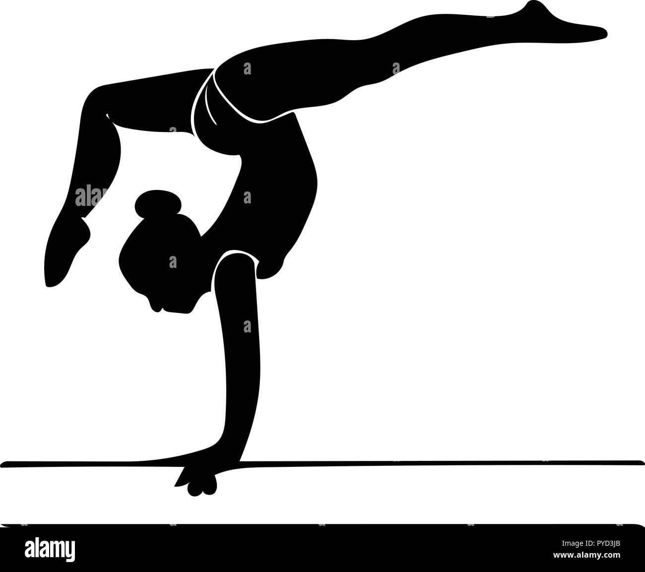 Ossature graphique vectoriel de poutre gymnaste sur l'exécution d'une passerelle arrière en profil. Photo Stock