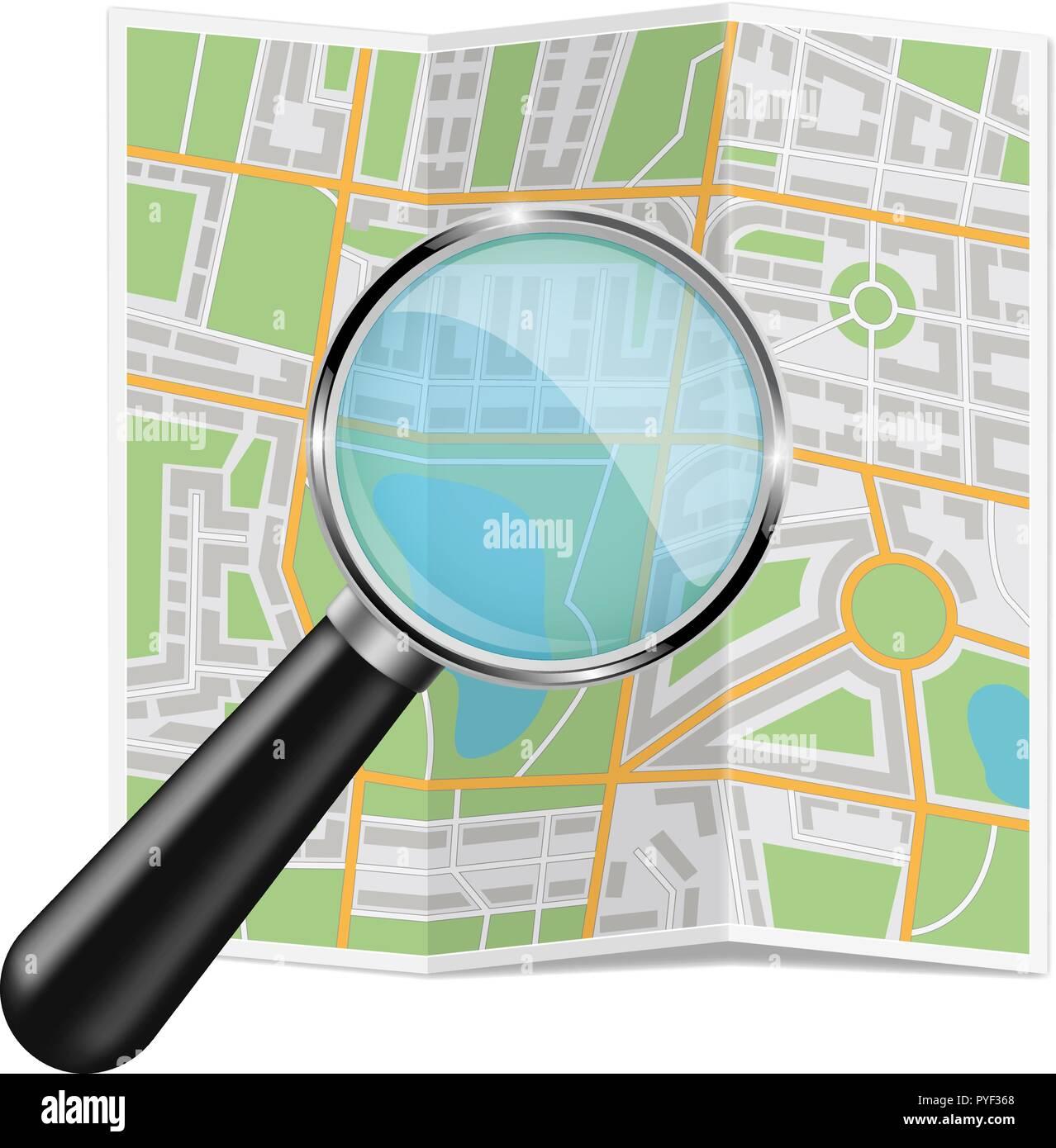 Plan de ville pliée. Résumé La cartographie avec verre zoom Photo Stock