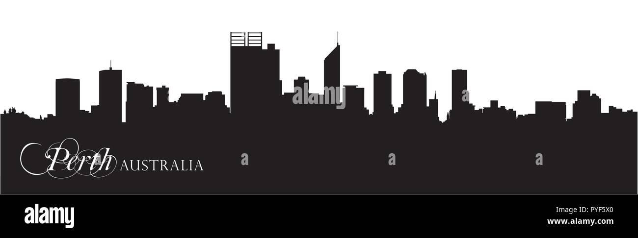 Skyline vecteur silhouette de la ville australienne de Perth. Photo Stock