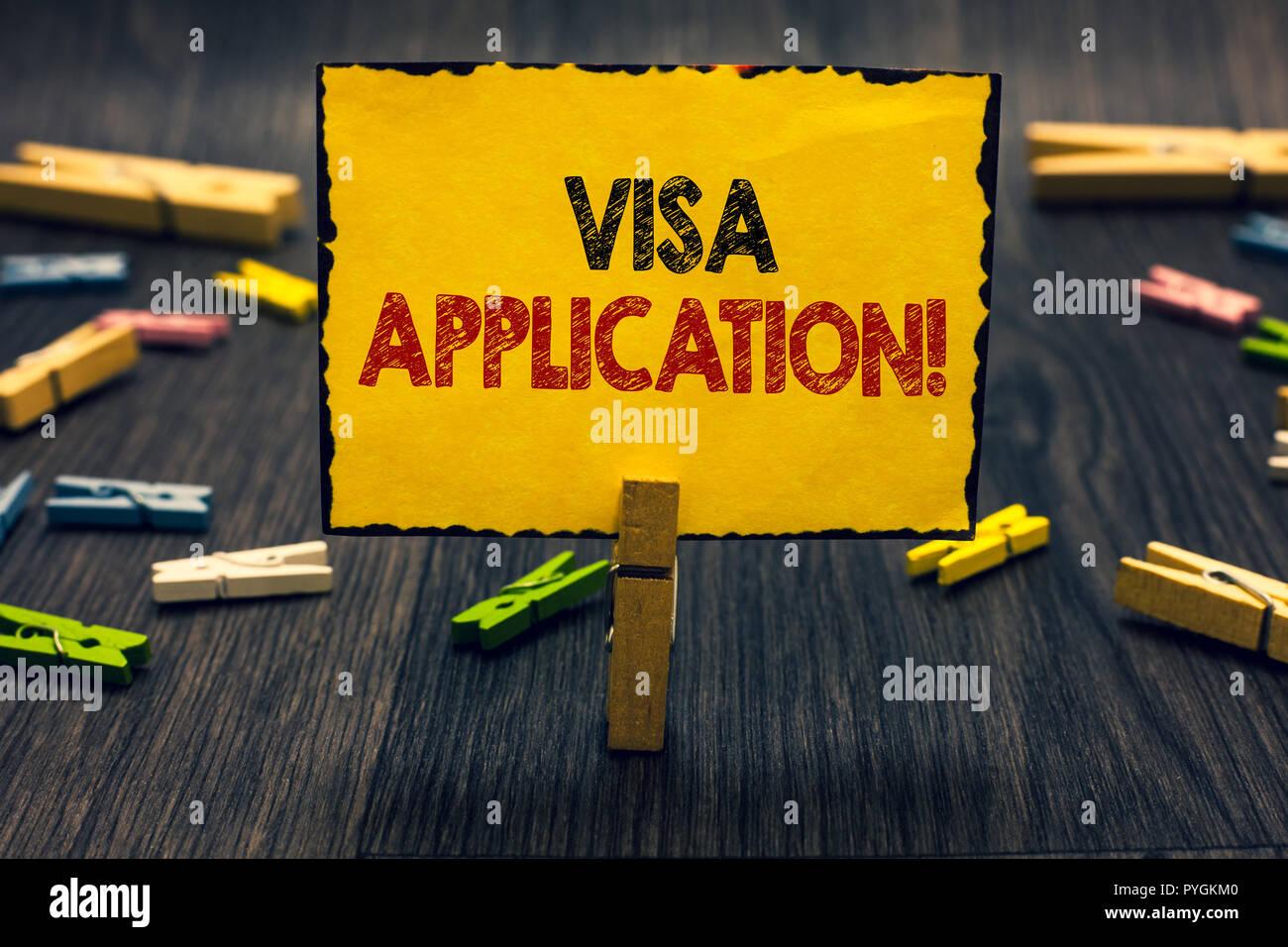 Lécriture de texte word demande de visa. concept daffaires
