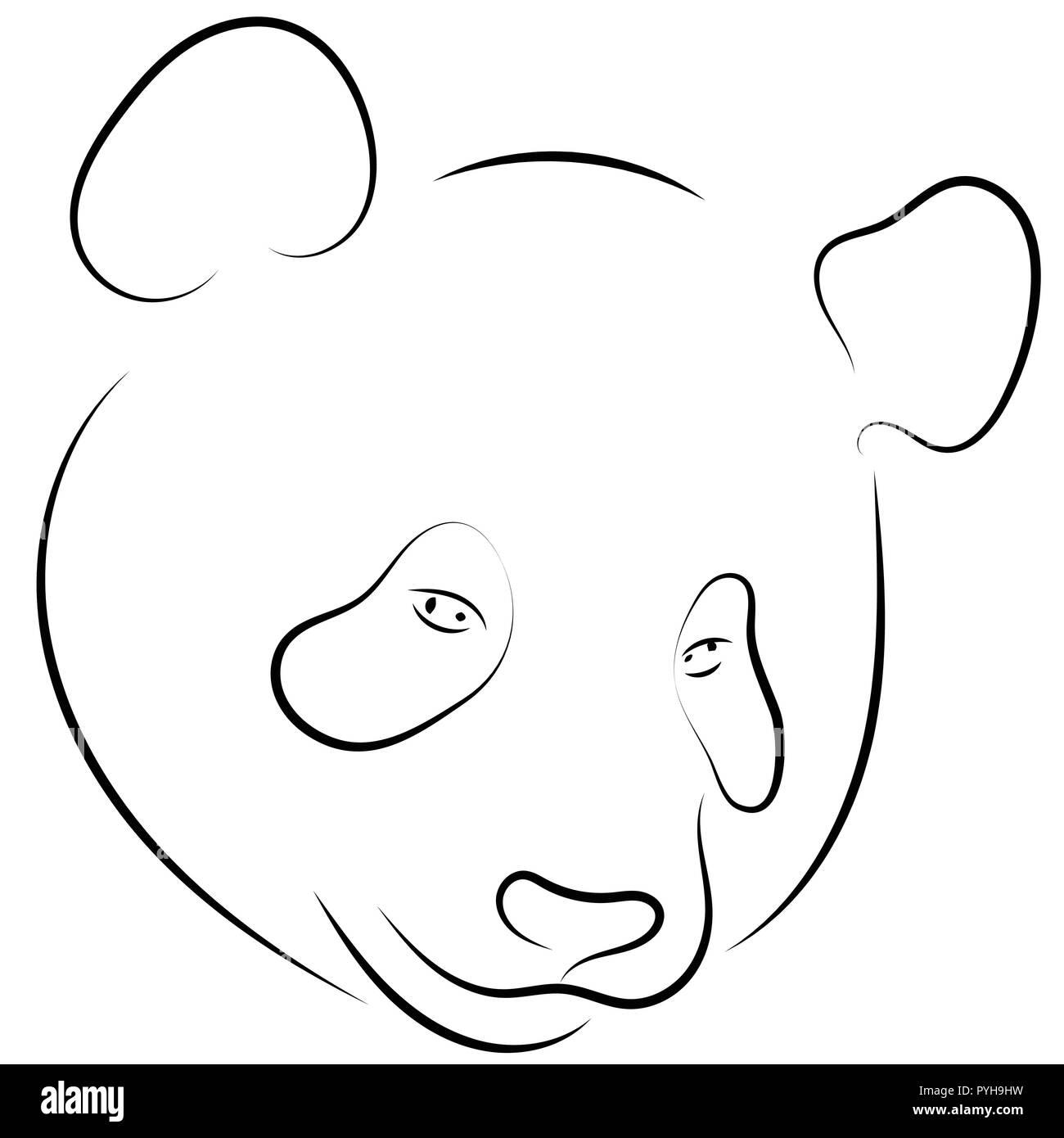 Le Noir Et Blanc à La Main Dessin Linéaire De Panda Tête