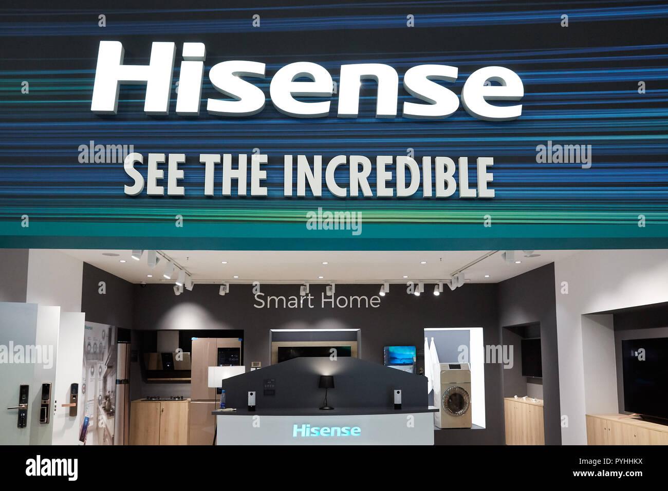 Berlin, Allemagne - Présentation des innovations et des applications dans le domaine de Smart Home sur le stand de l'entreprise chinoise Hisense lors de l'IFA 2018. Photo Stock