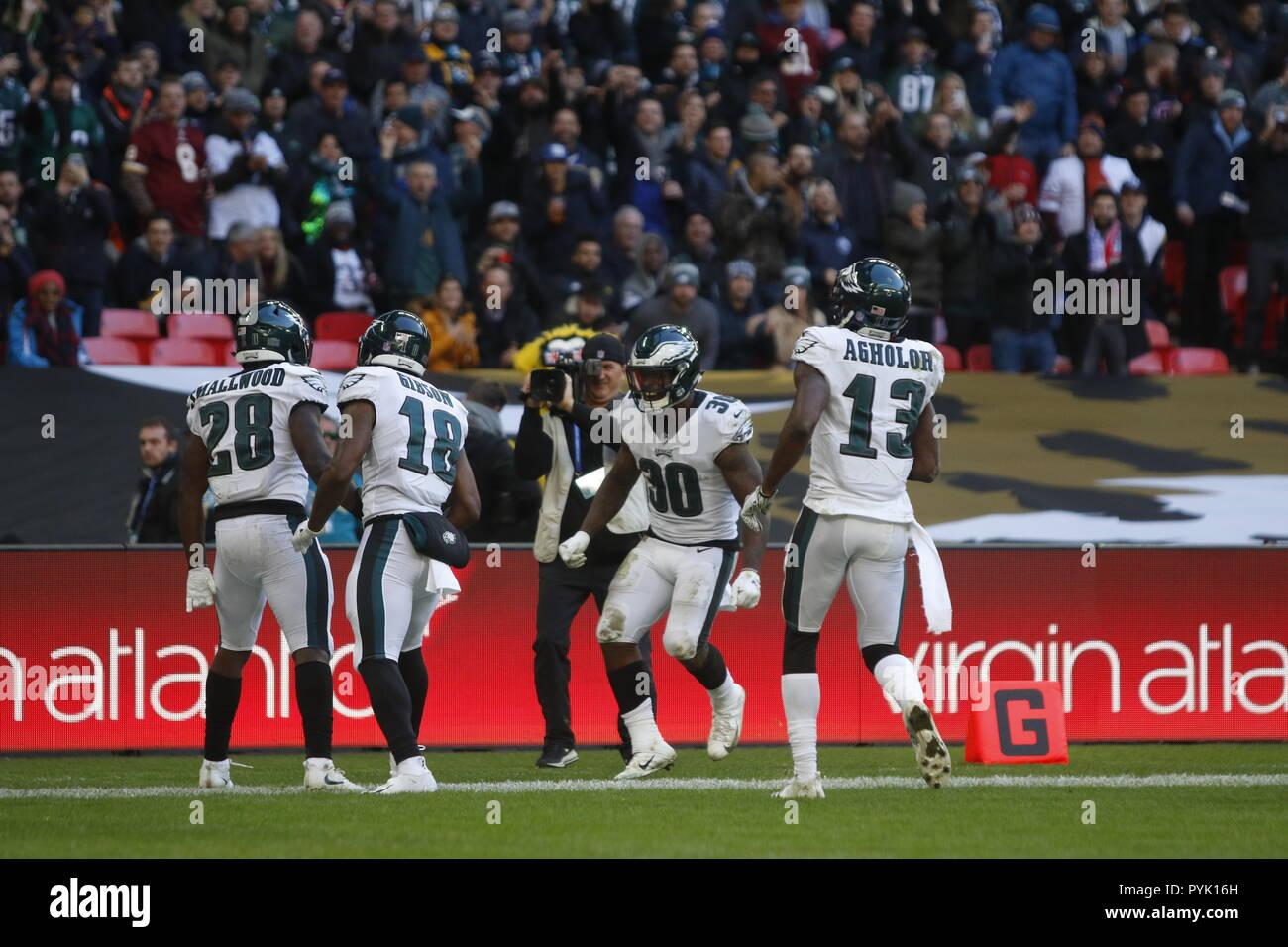 Londres, Royaume-Uni. 28 octobre 2018. Philadelphia Eagles Running Back Wendell Smallwood (28) célèbre son à l'Eagles à Jaguars - Glamourstock glamourstock crédit: Crédit/Alamy Live News Banque D'Images