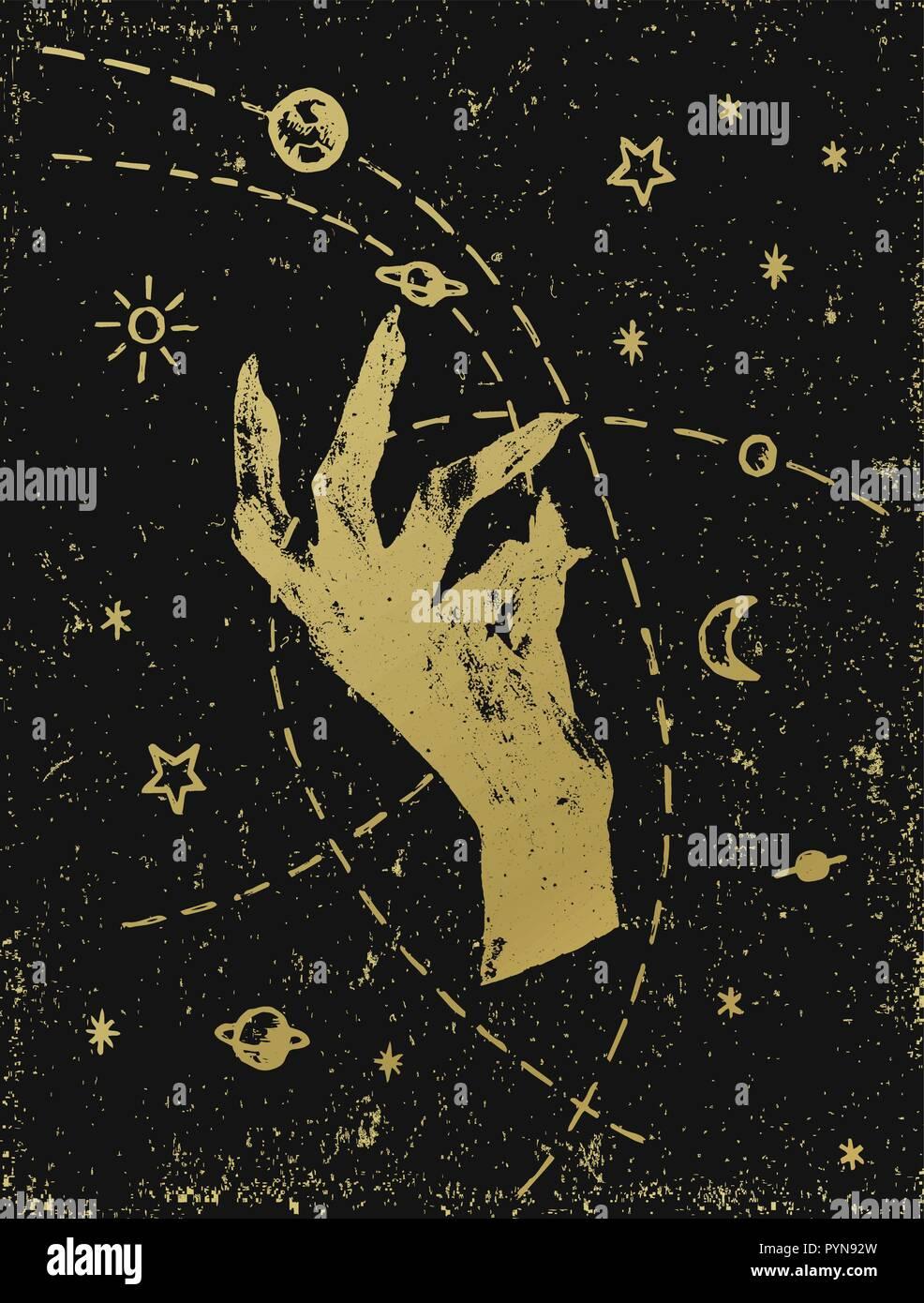 La main de la sorcière avec cosmos symbolique illustration, or sur fond texturé noir. Autocollant, tatouage, patch ou poster print design. Illustration de Vecteur