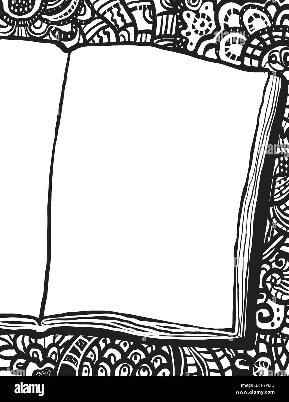 Coloriage Avec Ordinateur Portable Et Doodle Arriere Plan Illustration A La Main Avec Place Pour Le Dessin Ou Le Texte Image Vectorielle Stock Alamy