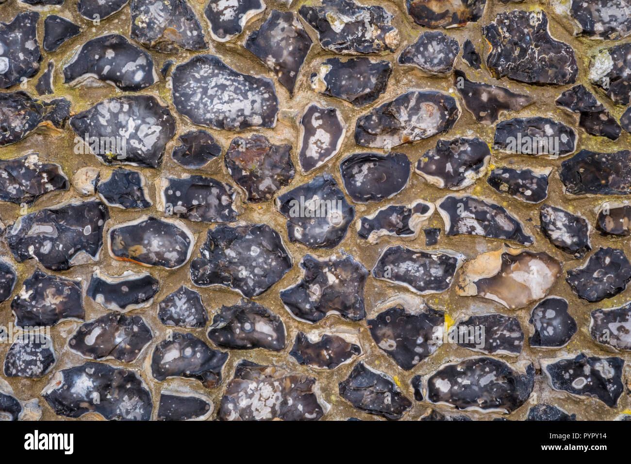Flint Knapped wall en Saffron Walden, Essex, UK, Uttlesford Photo Stock