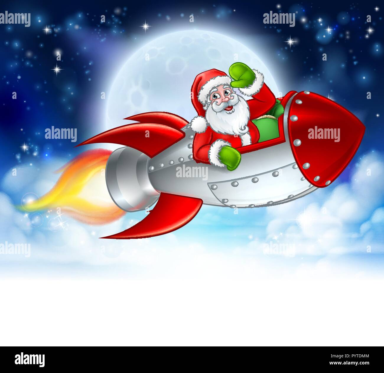 Santa In Spaceship Cartoon Illustration Photos Santa In