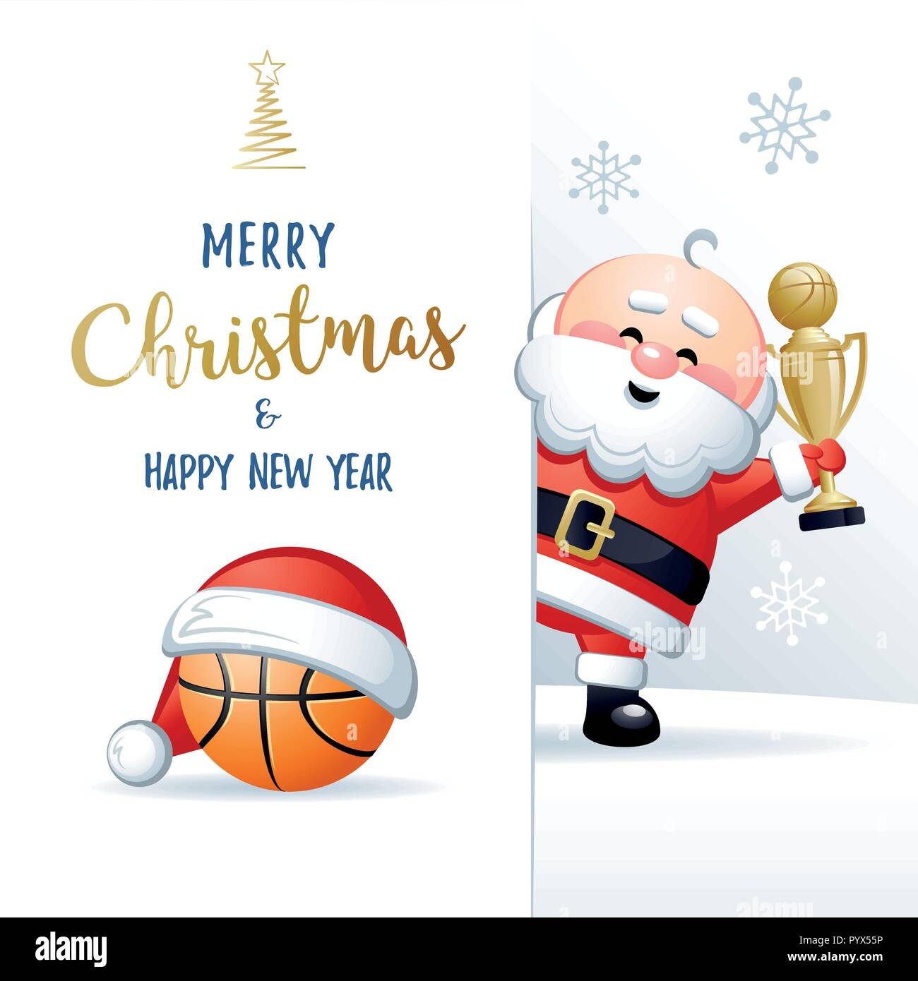 Joyeux Noel Et Bonne Annee Sports Carte De Vœux Pere Noel Mignon
