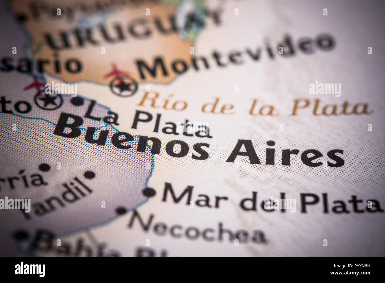 Libre De Buenos Aires Argentine Sur Une Carte Du Monde