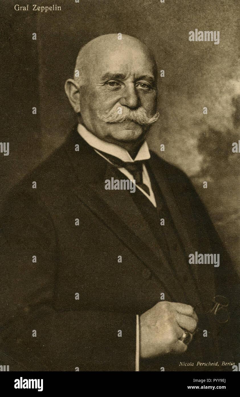 Ferdinand von Zeppelin (1838-1917), fondateur de dirigeable rigide de la construction, Nicola Perscheid (1864-1930) Photo Stock